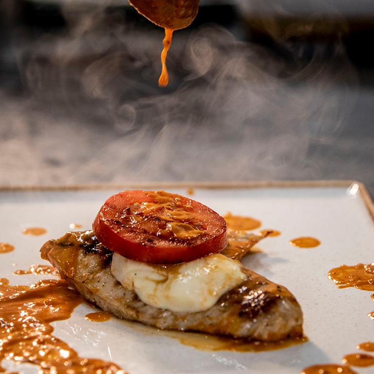 Steak mit Tomate Mozzarella